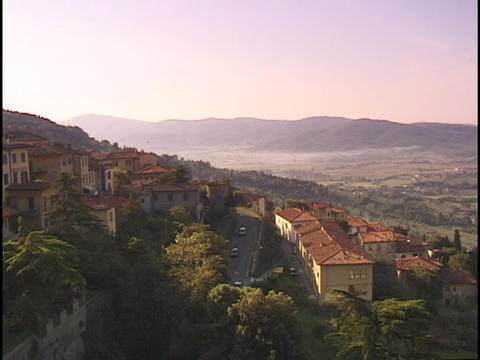 The sun shines on an Italian village Footage