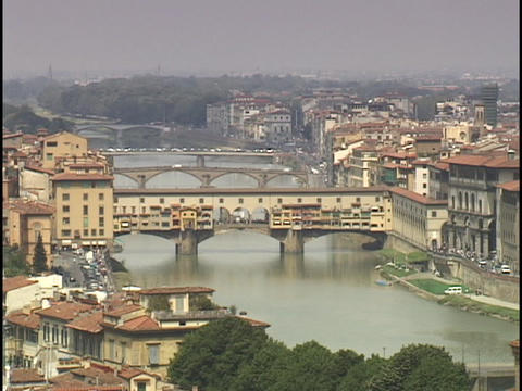 The Armor River flows through Florence, Italy Footage