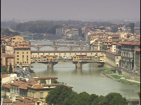 The Armor River flows through Florence, Italy Stock Video Footage