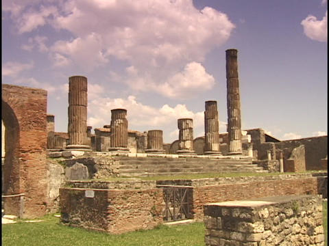 The sun shines on the ruins of Pompeii Footage