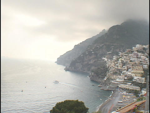 Fog rolls into the village of Positano Footage