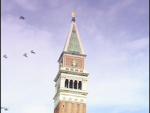A flock of birds fly near the topmost point of a cathedral at St. Mark's Square in Venice, Italy Footage