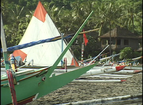 A group of sailboats rest on a beach Footage