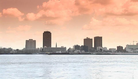 Zoom out from Baton Rouge, Louisiana across the mighty Mississippi River Footage