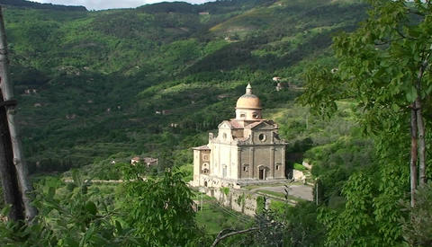 A beautiful church near Cortona Italy Footage
