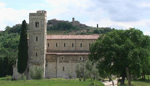 An old monastery in the Tuscan countryside, Italy Footage