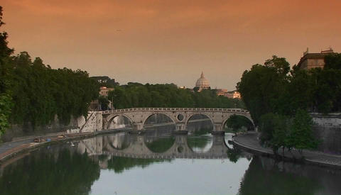 Bridge over the Tiber River in Rome Stock Video Footage
