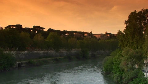 The bank of the Tiber River in Rome Stock Video Footage