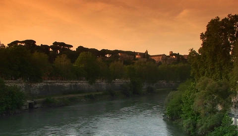 The bank of the Tiber River in Rome Footage