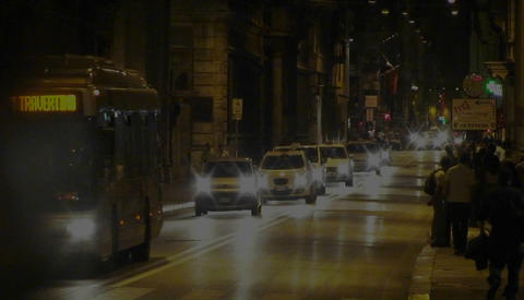 Night traffic in Rome, Italy Stock Video Footage