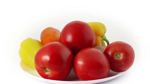 Fresh vegetables rotating at white background Stock Video Footage