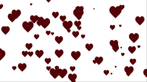 Glitter Hearts on White Animation