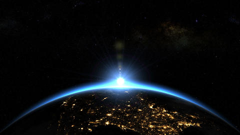 Space Sunrise over USA - North America. Earth from space Animation