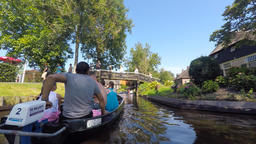Giethoorn, The Netherlands: Motor boat ride in the main canal of the famous vill Footage
