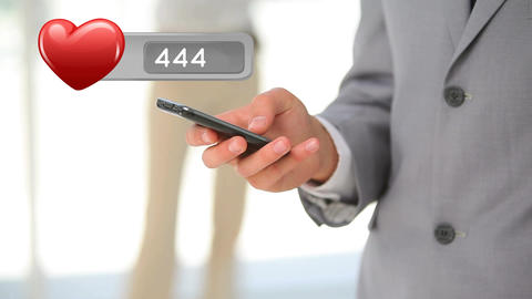 Businessman typing on his phone Animation