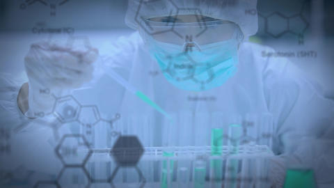 Scientist in a lab with test tube Animation