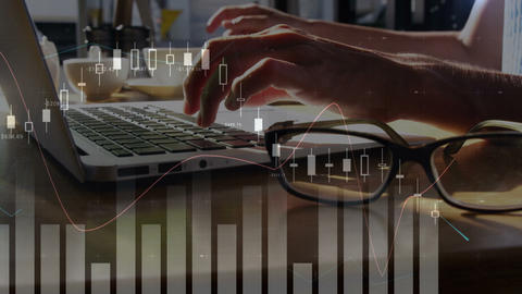 Graph and a woman using a laptop Animation