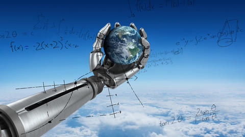 Robot arm holding the earth Animation