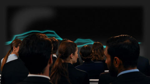 Business people watching a screen with thunder-like lights Animation