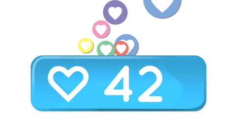 Heart icon and social media icons 4k Animation