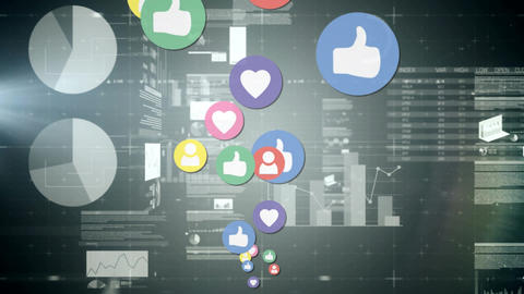 Social media icons and graphs Animation