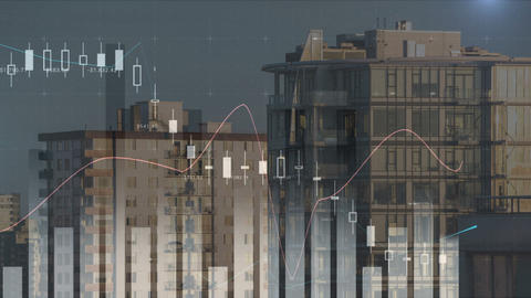 Different graphs and buildings 4k Animation