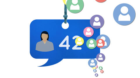 Colorful profile icons and numbers in message bubble icon 4k Animation