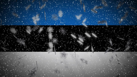 Estonia flag falling snow loopable, New Year and Christmas background, loop Animation