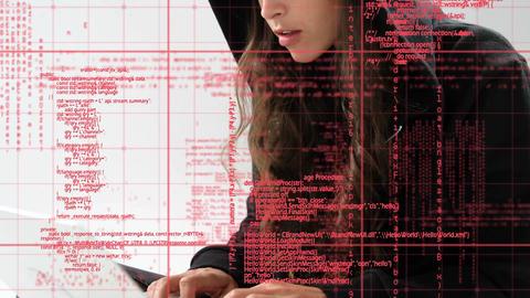Female hacker using a laptop Animation