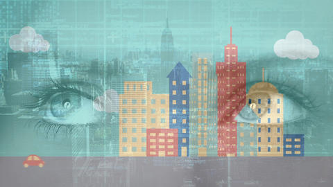 Eyes and animation of a city Animation