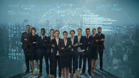 Business people in suits and digital sphere Animation