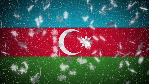 Azerbaijan flag falling snow loopable, New Year and Christmas background, loop Animation