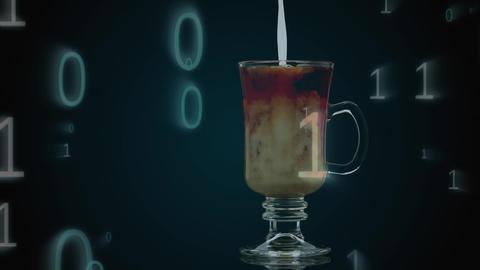 Milk on coffee and binary numbers Animation