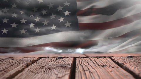 Wooden deck and American flag Animation