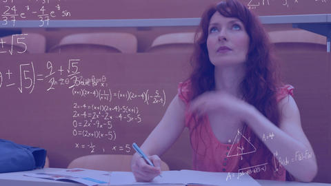Female student studying and mathematical equations Animation