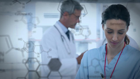 Nurse inside a hospital and chemical structure Animation
