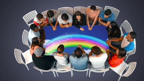 Group of people seated in a table Animation