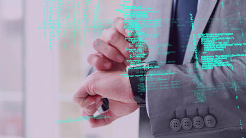 Man using a smart watch and program codes Animation