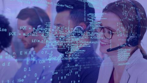 Call center representatives and program codes Animation
