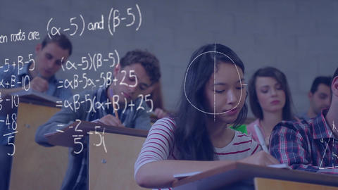 Students studying in a lecture hall and mathematical equations Animation