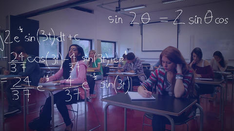 Students studying and mathematical equations Animation