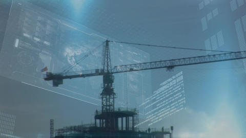 Tower crane and digital interface Animation