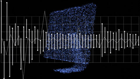 Digital sound waves and a monitor Animation