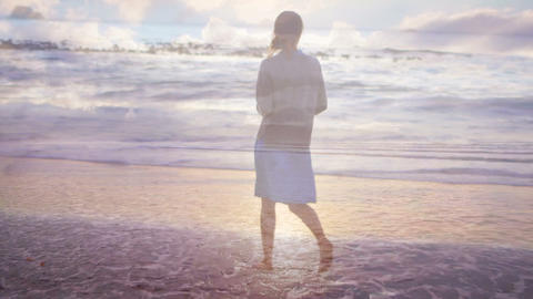 Woman walking on the beach at sunset 4k Animation
