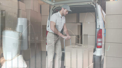 Deliveryman loading packages in a van 4k Animation