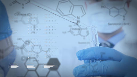 Scientist in a lab and chemical structures Animation