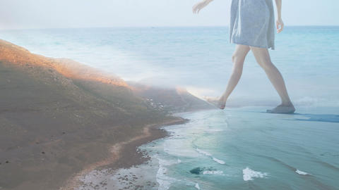 Woman happily walking on the beach 4k Animation