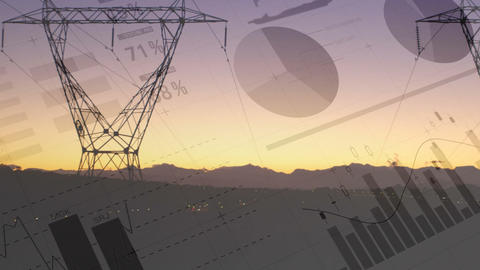 Statistics and graphs about transmission towers 4k Animation