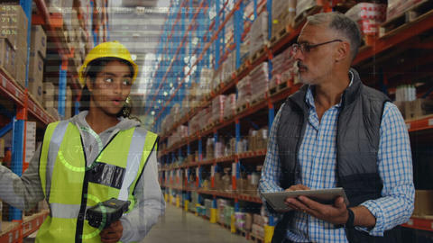Warehouse manager supervising his worker 4k Animation