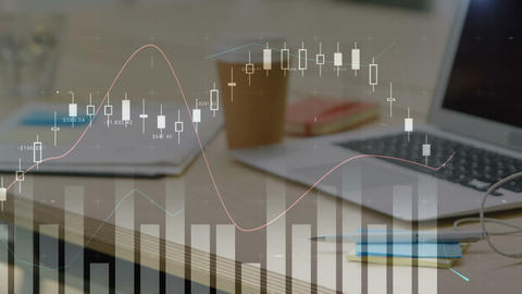 Work space and graphs 4k Animation